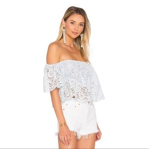Lovers & Friends Baby Blue Lace Off Shoulder Top